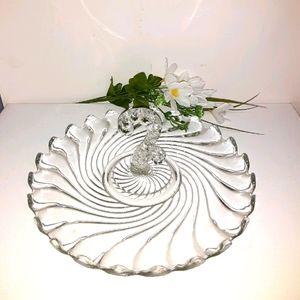Vintage clear swirl pattern ruffled edge platter